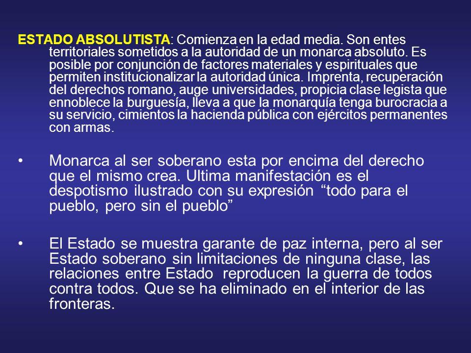 ESTADO LIBERAL : Surge como reacción de la burguesía contra el Estado absolutista.