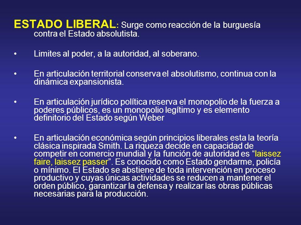 ESTADO LIBERAL : Surge como reacción de la burguesía contra el Estado absolutista. Limites al poder, a la autoridad, al soberano. En articulación terr