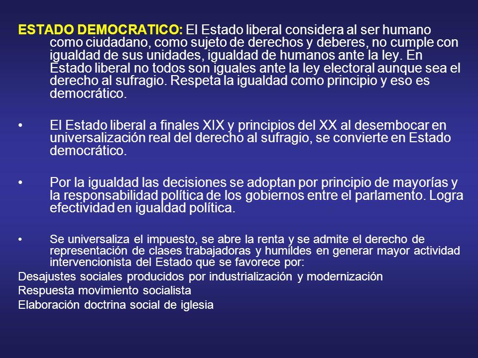 ESTADO DEMOCRATICO: El Estado liberal considera al ser humano como ciudadano, como sujeto de derechos y deberes, no cumple con igualdad de sus unidade