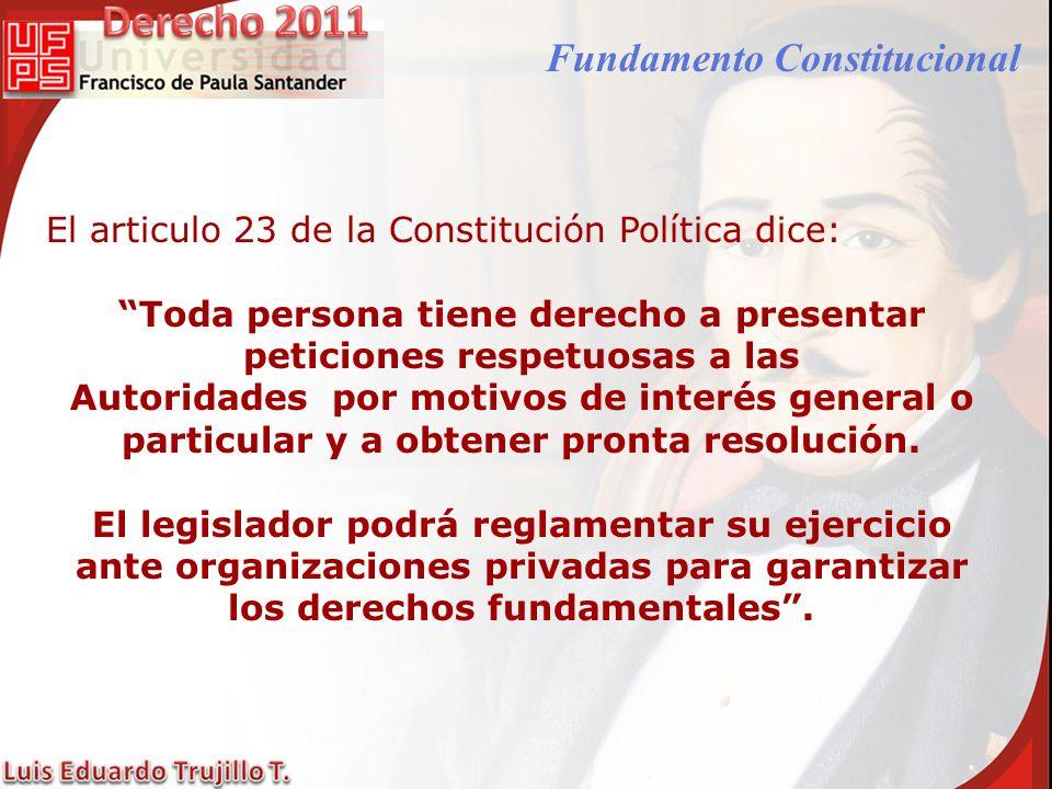 Fundamento Constitucional El articulo 23 de la Constitución Política dice: Toda persona tiene derecho a presentar peticiones respetuosas a las Autorid