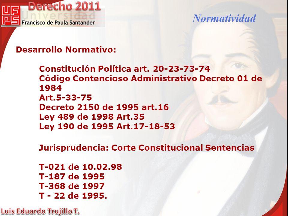 Desarrollo Normativo: Constitución Política art. 20-23-73-74 Código Contencioso Administrativo Decreto 01 de 1984 Art.5-33-75 Decreto 2150 de 1995 art
