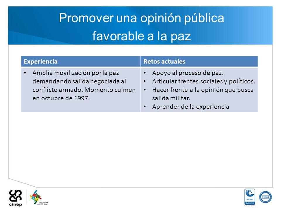 Promover una opinión pública favorable a la paz ExperienciaRetos actuales Amplia movilización por la paz demandando salida negociada al conflicto arma