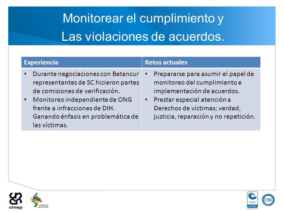 Monitorear el cumplimiento y Las violaciones de acuerdos. ExperienciaRetos actuales Durante negociaciones con Betancur representantes de SC hicieron p