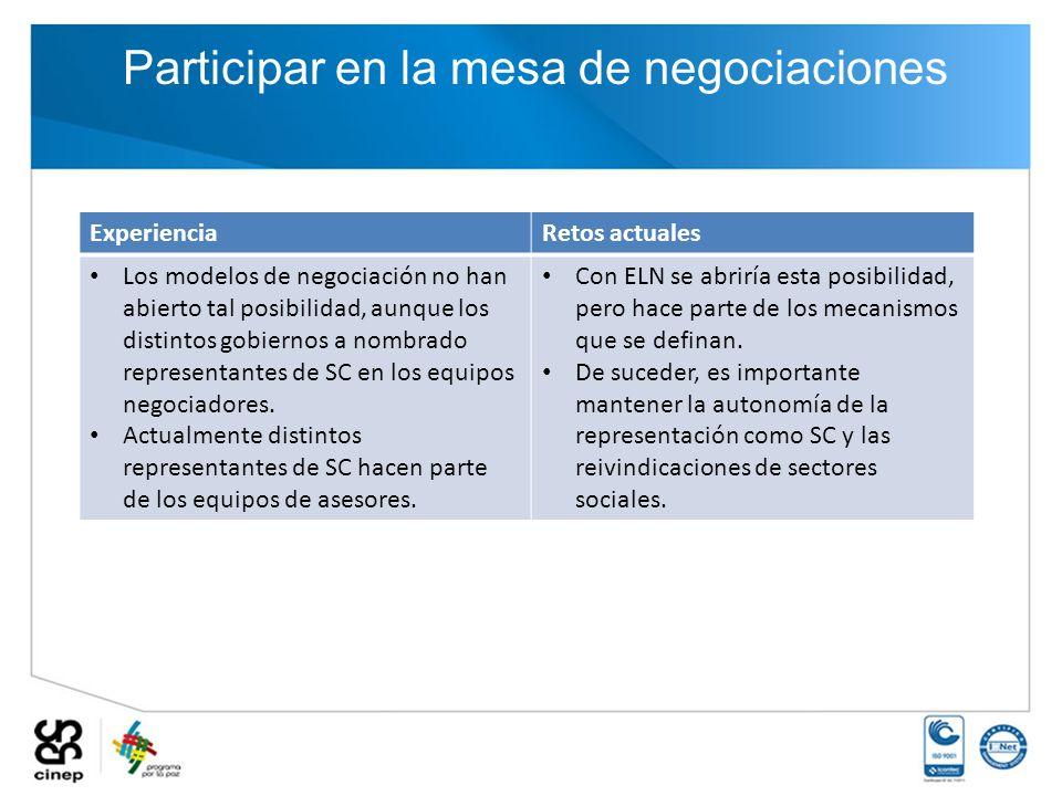 Participar en la mesa de negociaciones ExperienciaRetos actuales Los modelos de negociación no han abierto tal posibilidad, aunque los distintos gobie
