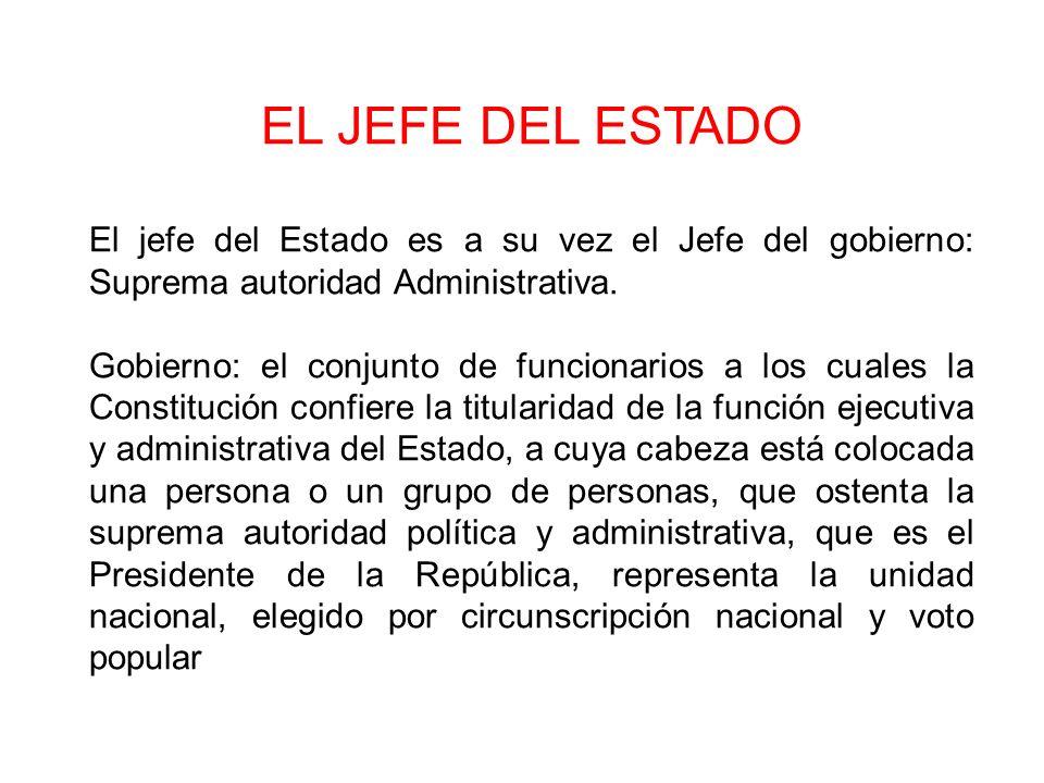 EL JEFE DEL ESTADO El jefe del Estado es a su vez el Jefe del gobierno: Suprema autoridad Administrativa. Gobierno: el conjunto de funcionarios a los