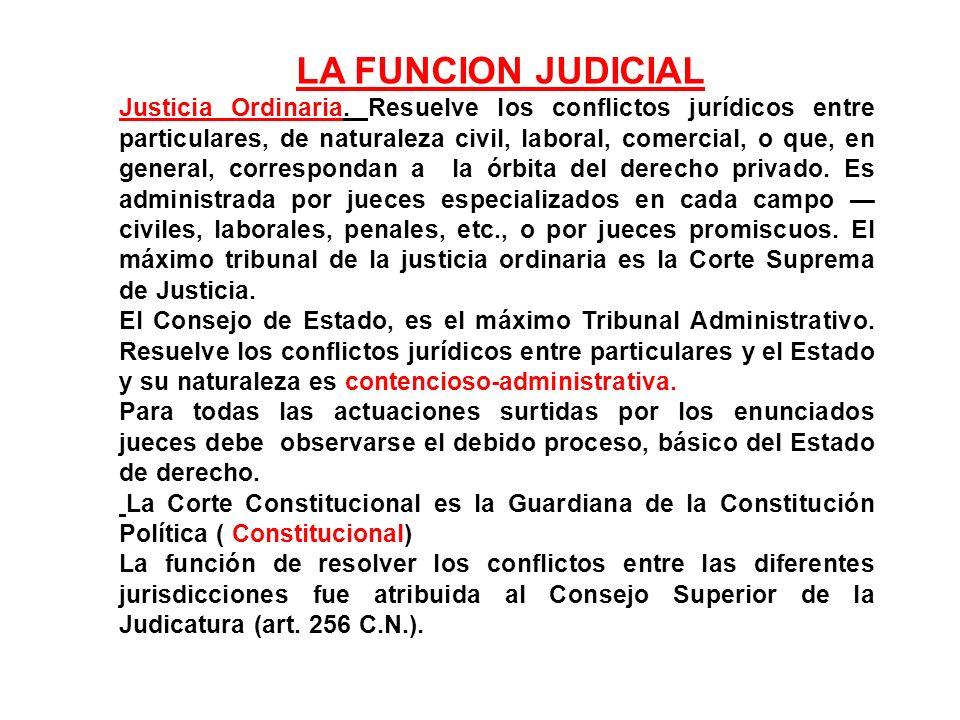LA FUNCION JUDICIAL Justicia Ordinaria. Resuelve los conflictos jurídicos entre particulares, de naturaleza civil, laboral, comercial, o que, en gener