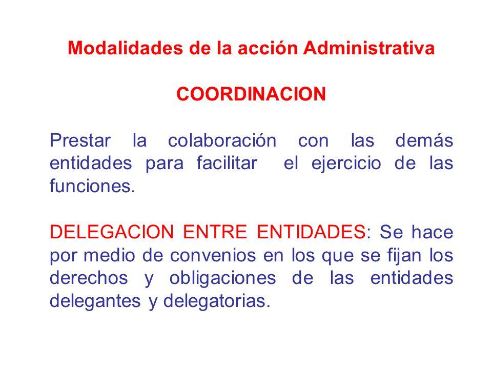 Modalidades de la acción Administrativa COORDINACION Prestar la colaboración con las demás entidades para facilitar el ejercicio de las funciones. DEL