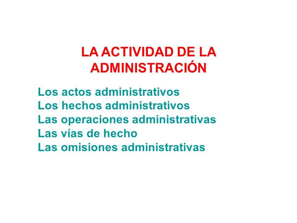 LA ACTIVIDAD DE LA ADMINISTRACIÓN Los actos administrativos Los hechos administrativos Las operaciones administrativas Las vías de hecho Las omisiones