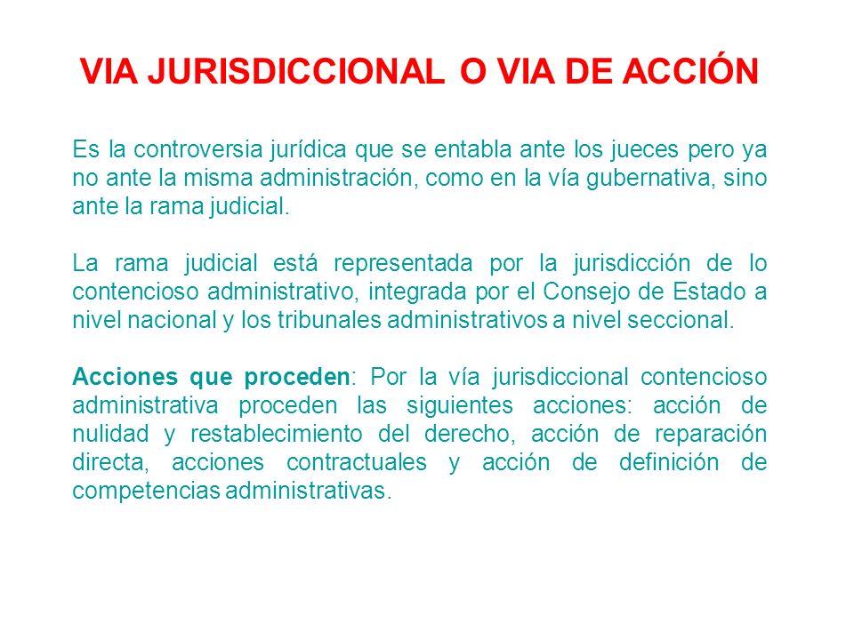 VIA JURISDICCIONAL O VIA DE ACCIÓN Es la controversia jurídica que se entabla ante los jueces pero ya no ante la misma administración, como en la vía