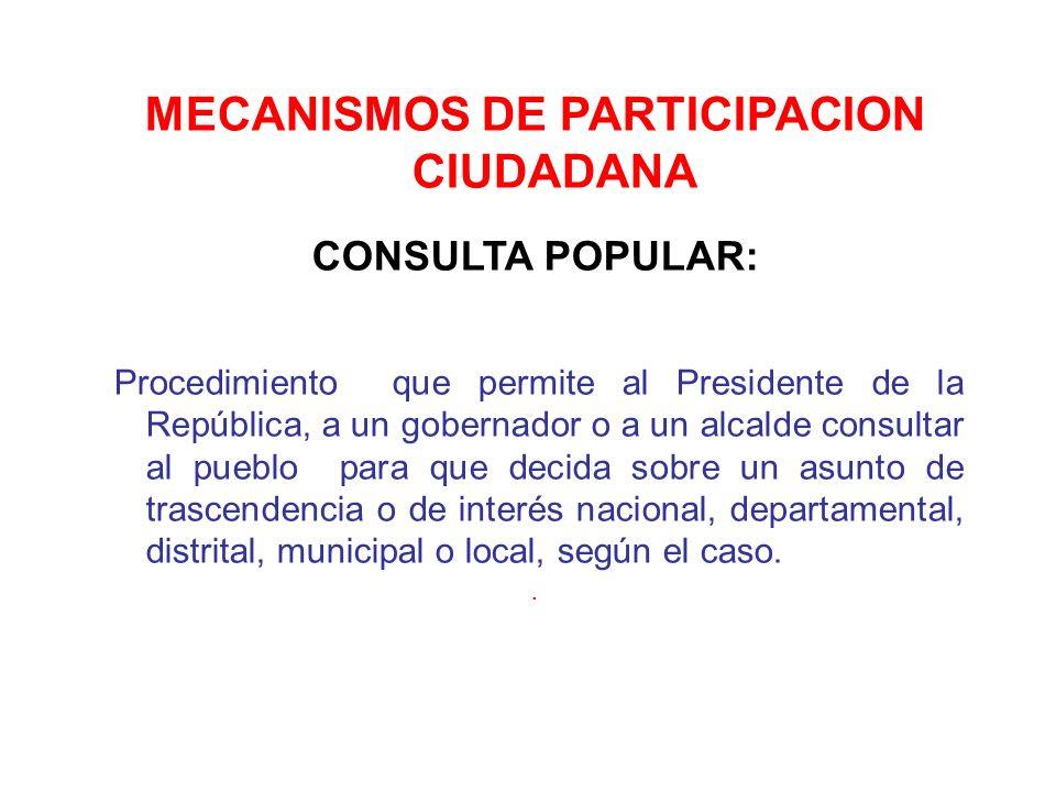 MECANISMOS DE PARTICIPACION CIUDADANA CONSULTA POPULAR: Procedimiento que permite al Presidente de la República, a un gobernador o a un alcalde consul
