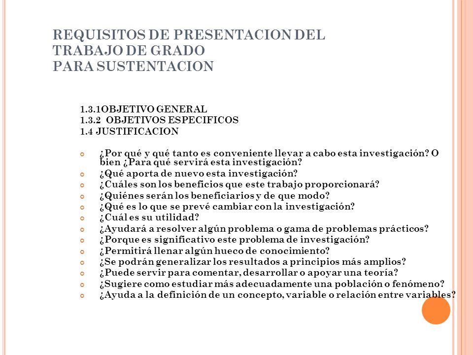 REQUISITOS DE PRESENTACION DEL TRABAJO DE GRADO PARA SUSTENTACION 1.3.1OBJETIVO GENERAL 1.3.2 OBJETIVOS ESPECIFICOS 1.4 JUSTIFICACION ¿Por qué y qué t