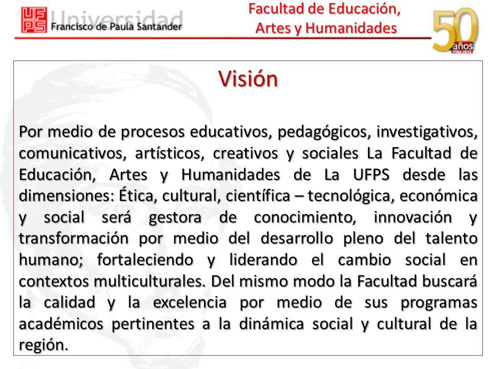 Facultad de Educación, Artes y Humanidades Visión Por medio de procesos educativos, pedagógicos, investigativos, comunicativos, artísticos, creativos