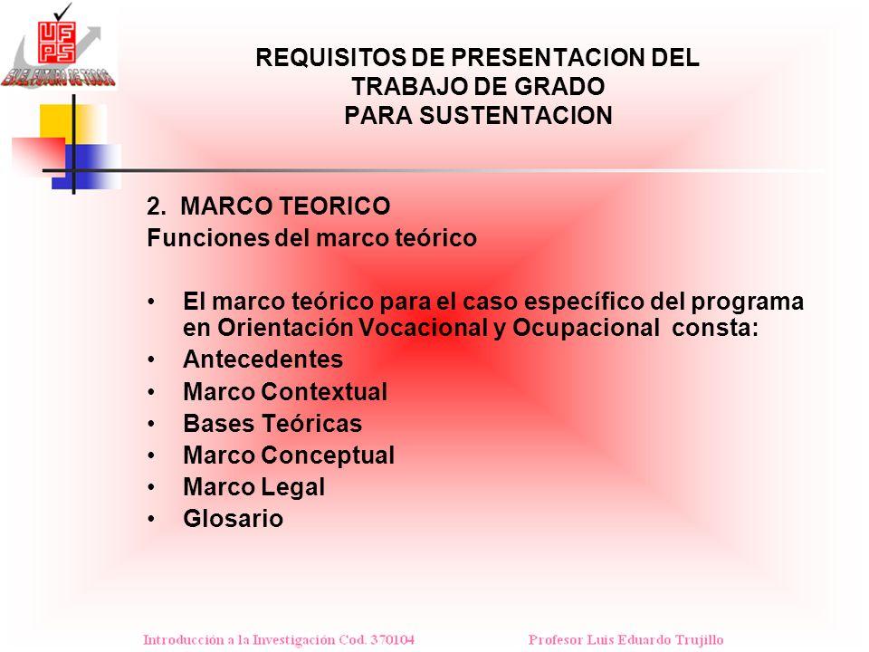 REQUISITOS DE PRESENTACION DEL TRABAJO DE GRADO PARA SUSTENTACION 2. MARCO TEORICO Funciones del marco teórico El marco teórico para el caso específic