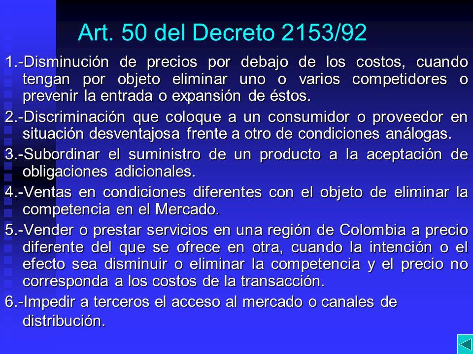 Art. 50 del Decreto 2153/92 1.-Disminución de precios por debajo de los costos, cuando tengan por objeto eliminar uno o varios competidores o prevenir
