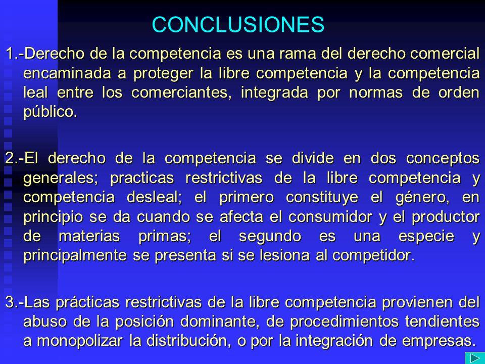 CONCLUSIONES 1.-Derecho de la competencia es una rama del derecho comercial encaminada a proteger la libre competencia y la competencia leal entre los