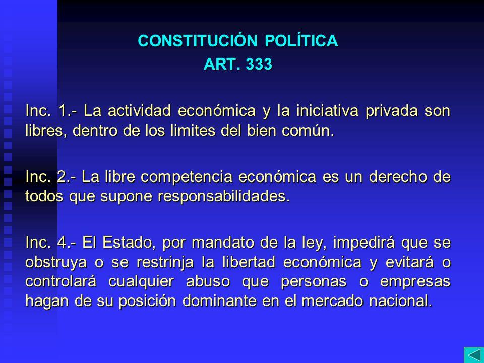 CONSTITUCIÓN POLÍTICA ART. 333 Inc. 1.- La actividad económica y la iniciativa privada son libres, dentro de los limites del bien común. Inc. 2.- La l