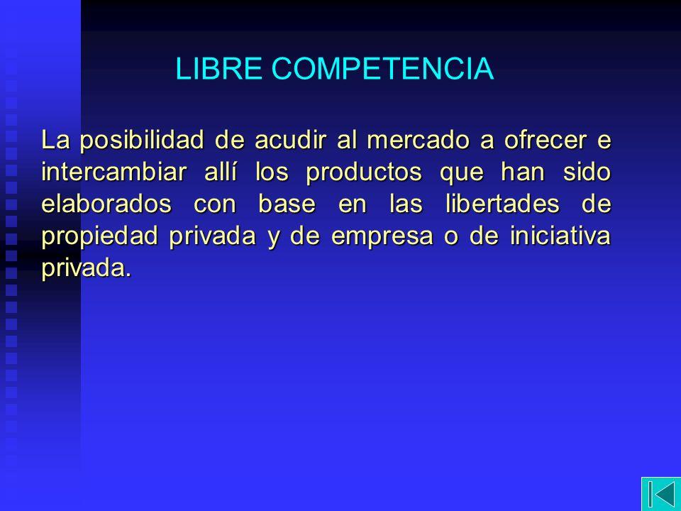 LIBRE COMPETENCIA La posibilidad de acudir al mercado a ofrecer e intercambiar allí los productos que han sido elaborados con base en las libertades d