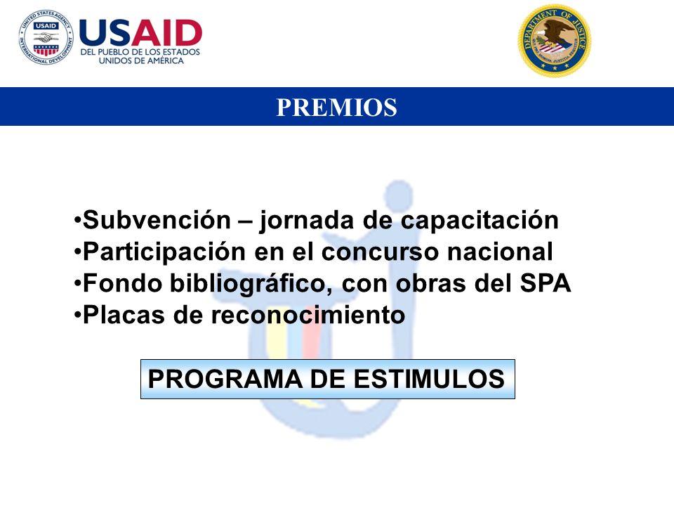 PREMIOS Subvención – jornada de capacitación Participación en el concurso nacional Fondo bibliográfico, con obras del SPA Placas de reconocimiento PRO