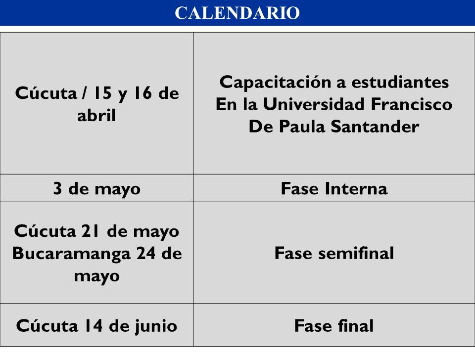 CALENDARIO Cúcuta / 15 y 16 de abril Capacitación a estudiantes En la Universidad Francisco De Paula Santander 3 de mayoFase Interna Cúcuta 21 de mayo