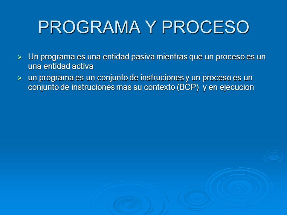 PROGRAMA Y PROCESO Un programa es una entidad pasiva mientras que un proceso es un una entidad activa Un programa es una entidad pasiva mientras que u