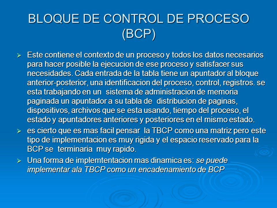 BLOQUE DE CONTROL DE PROCESO (BCP) Este contiene el contexto de un proceso y todos los datos necesarios para hacer posible la ejecucion de ese proceso