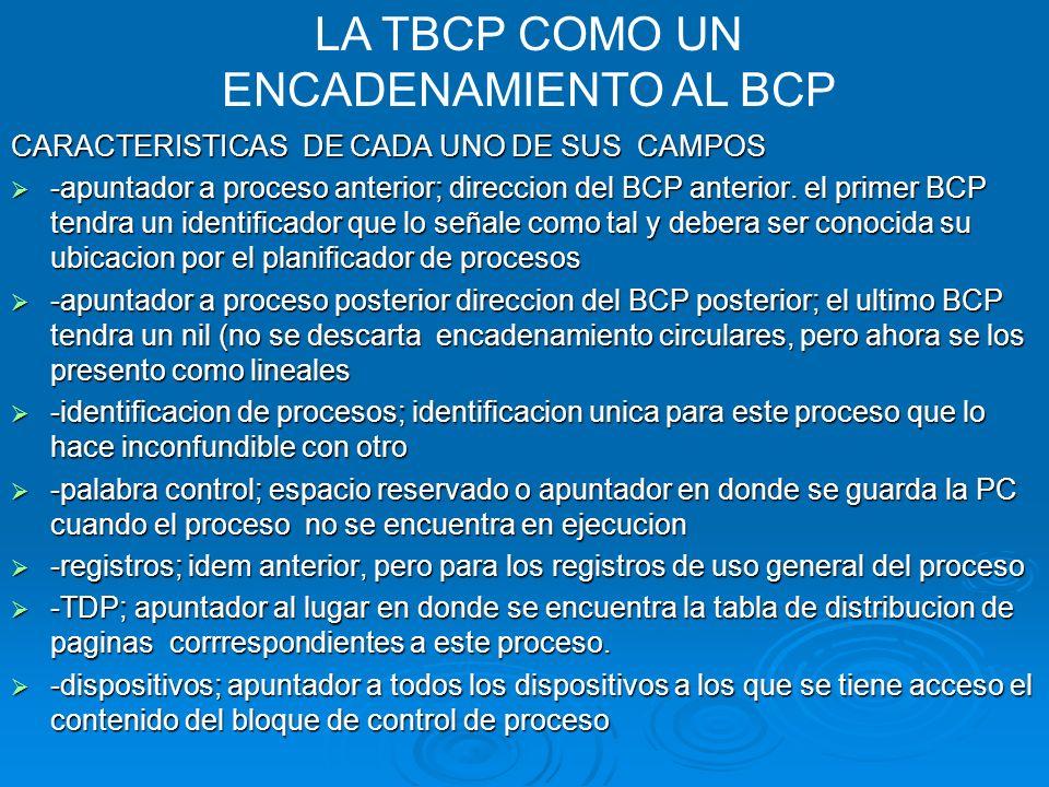 CARACTERISTICAS DE CADA UNO DE SUS CAMPOS -apuntador a proceso anterior; direccion del BCP anterior. el primer BCP tendra un identificador que lo seña
