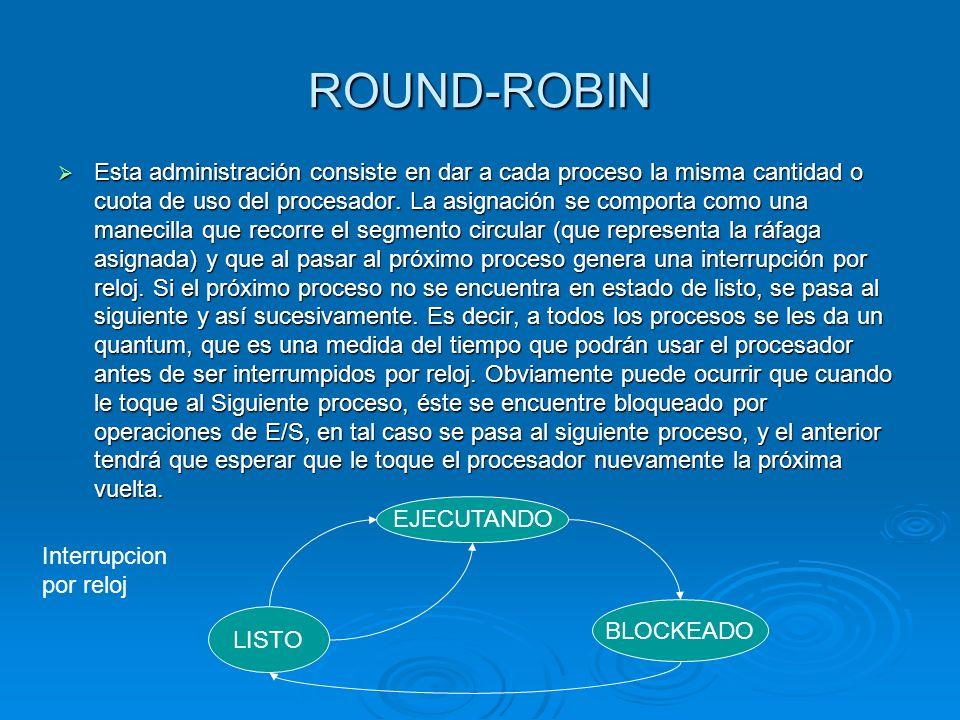 ROUND-ROBIN Esta administración consiste en dar a cada proceso la misma cantidad o cuota de uso del procesador. La asignación se comporta como una man