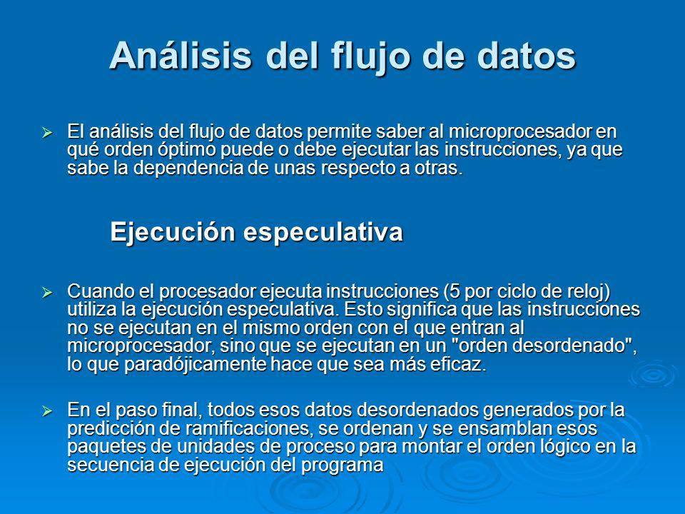 Análisis del flujo de datos El análisis del flujo de datos permite saber al microprocesador en qué orden óptimo puede o debe ejecutar las instruccione