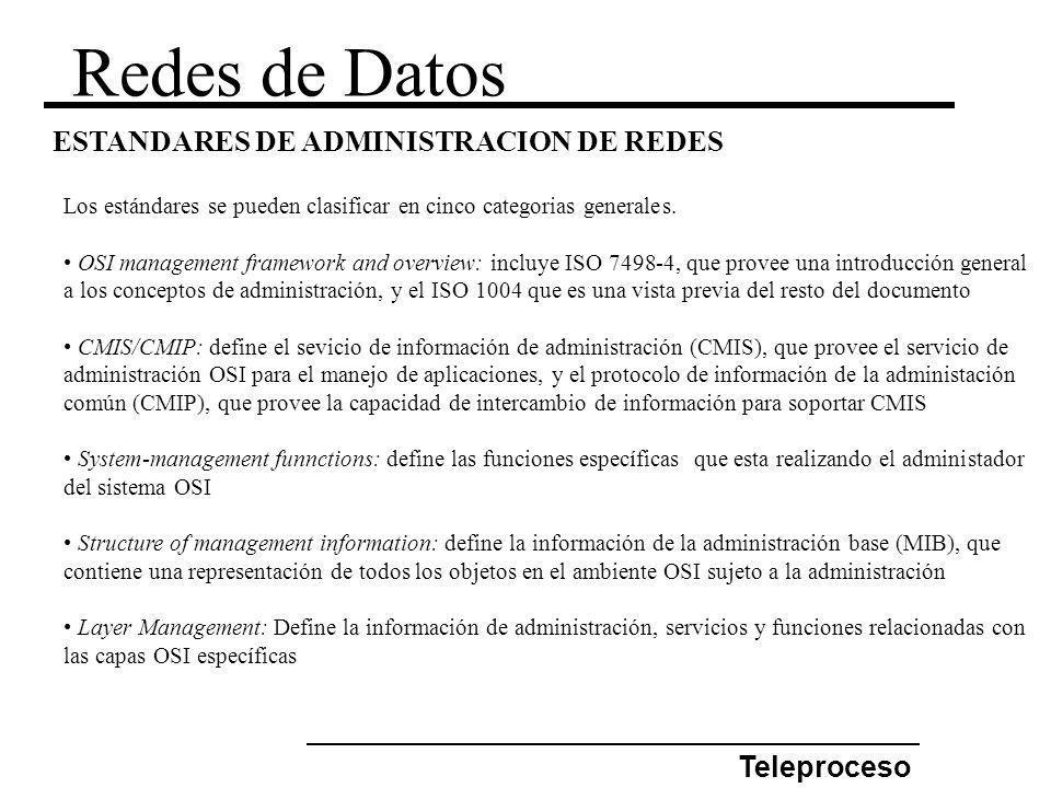 Redes de Datos Teleproceso ESTANDARES DE ADMINISTRACION DE REDES Los estándares se pueden clasificar en cinco categorias generales. OSI management fra