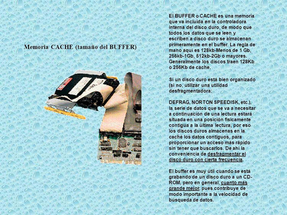 Memoria CACHE (tamaño del BUFFER) El BUFFER o CACHE es una memoria que va incluida en la controladora interna del disco duro, de modo que todos los da