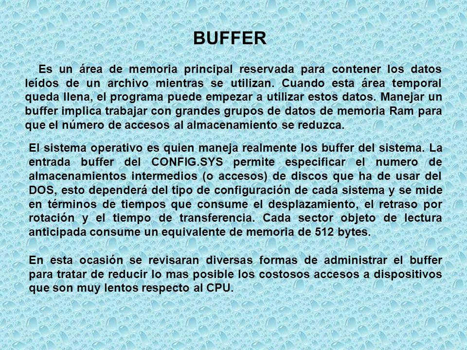 El sistema operativo es quien maneja realmente los buffer del sistema. La entrada buffer del CONFIG.SYS permite especificar el numero de almacenamient