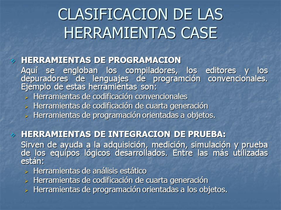 CLASIFICACION DE LAS HERRAMIENTAS CASE HERRAMIENTAS DE PROGRAMACION HERRAMIENTAS DE PROGRAMACION Aquí se engloban los compiladores, los editores y los