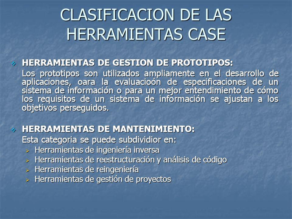 CLASIFICACION DE LAS HERRAMIENTAS CASE HERRAMIENTAS DE GESTION DE PROTOTIPOS: HERRAMIENTAS DE GESTION DE PROTOTIPOS: Los prototipos son utilizados amp