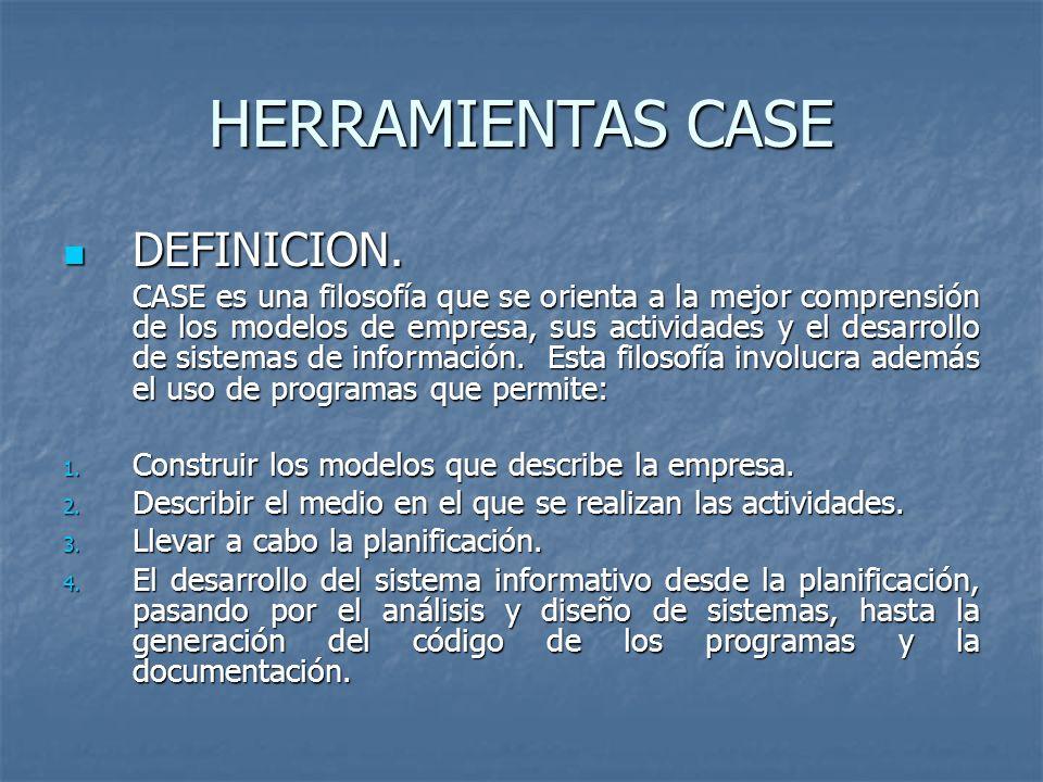 HERRAMIENTAS CASE DEFINICION. DEFINICION. CASE es una filosofía que se orienta a la mejor comprensión de los modelos de empresa, sus actividades y el