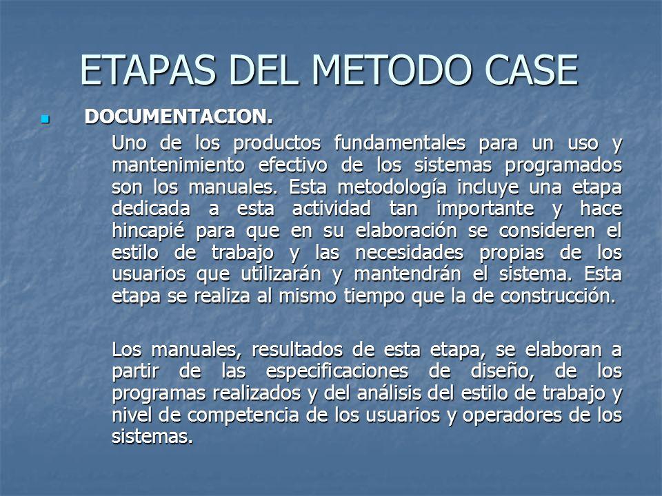 ETAPAS DEL METODO CASE DOCUMENTACION. DOCUMENTACION. Uno de los productos fundamentales para un uso y mantenimiento efectivo de los sistemas programad