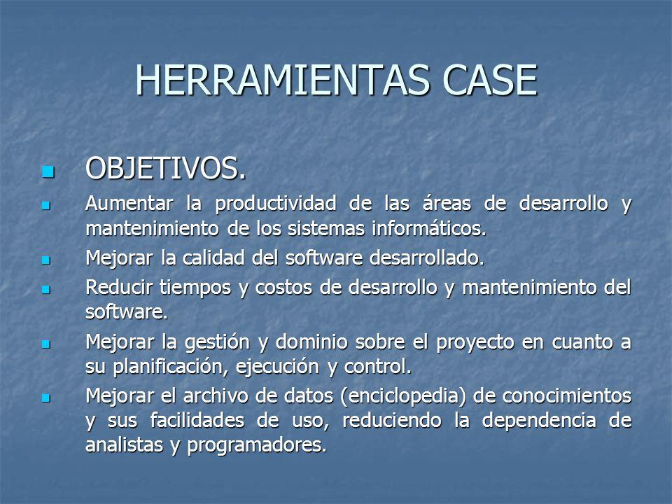 HERRAMIENTAS CASE OBJETIVOS. OBJETIVOS. Aumentar la productividad de las áreas de desarrollo y mantenimiento de los sistemas informáticos. Aumentar la