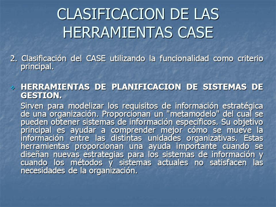 CLASIFICACION DE LAS HERRAMIENTAS CASE 2. Clasificación del CASE utilizando la funcionalidad como criterio principal. HERRAMIENTAS DE PLANIFICACION DE