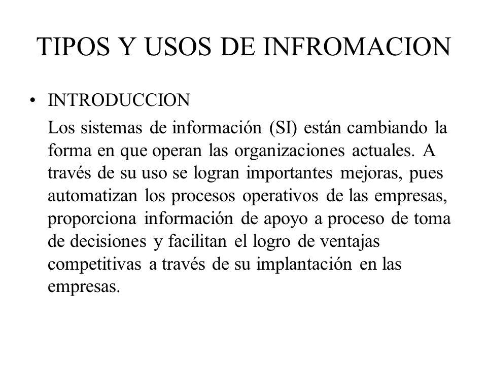 TIPOS Y USOS DE INFROMACION INTRODUCCION Los sistemas de información (SI) están cambiando la forma en que operan las organizaciones actuales. A través