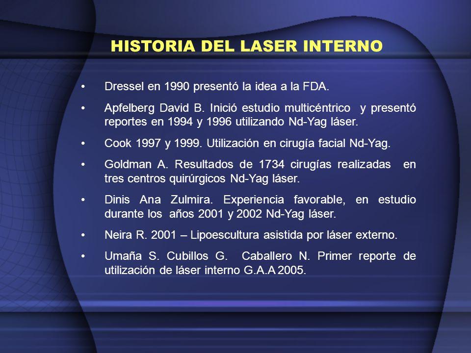 Santiago Umaña LASER INTERNO GA, As, Al 670 Nm 40 Mw Emisión Continua Baja emisión calórica Ultra selectividad por la grasa Nd – Yaq 1064 Nm Hasta 6 W