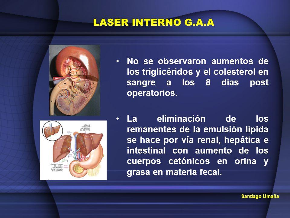 Santiago Umaña No se observaron aumentos de los triglicéridos y el colesterol en sangre a los 8 días post operatorios. La eliminación de los remanente