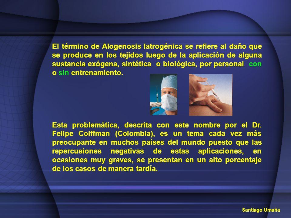 El término de Alogenosis Iatrogénica se refiere al daño que se produce en los tejidos luego de la aplicación de alguna sustancia exógena, sintética o