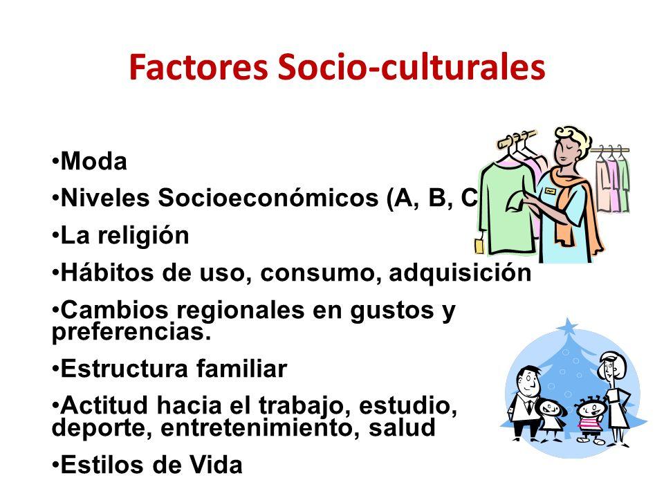 Factores Socio-culturales Moda Niveles Socioeconómicos (A, B, C…E) La religión Hábitos de uso, consumo, adquisición Cambios regionales en gustos y pre