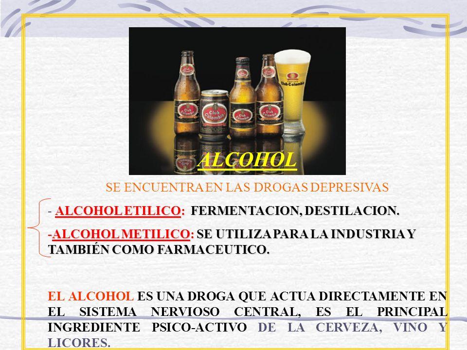 ALCOHOL SE ENCUENTRA EN LAS DROGAS DEPRESIVAS ALCOHOL ETILICO: FERMENTACION, DESTILACION. - ALCOHOL ETILICO: FERMENTACION, DESTILACION. -ALCOHOL METIL