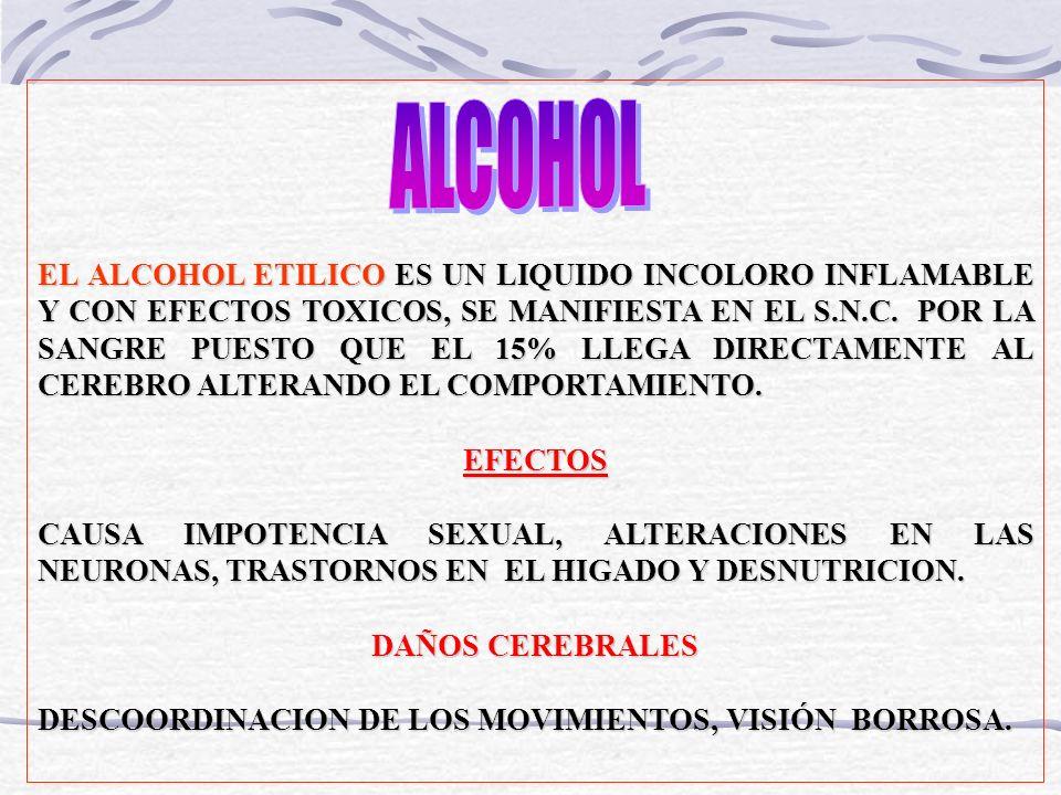 EL ALCOHOL ETILICO ES UN LIQUIDO INCOLORO INFLAMABLE Y CON EFECTOS TOXICOS, SE MANIFIESTA EN EL S.N.C. POR LA SANGRE PUESTO QUE EL 15% LLEGA DIRECTAME