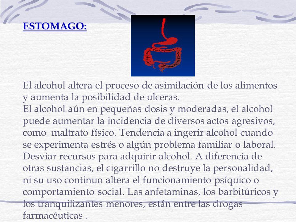 ESTOMAGO: El alcohol altera el proceso de asimilación de los alimentos y aumenta la posibilidad de ulceras. El alcohol aún en pequeñas dosis y moderad