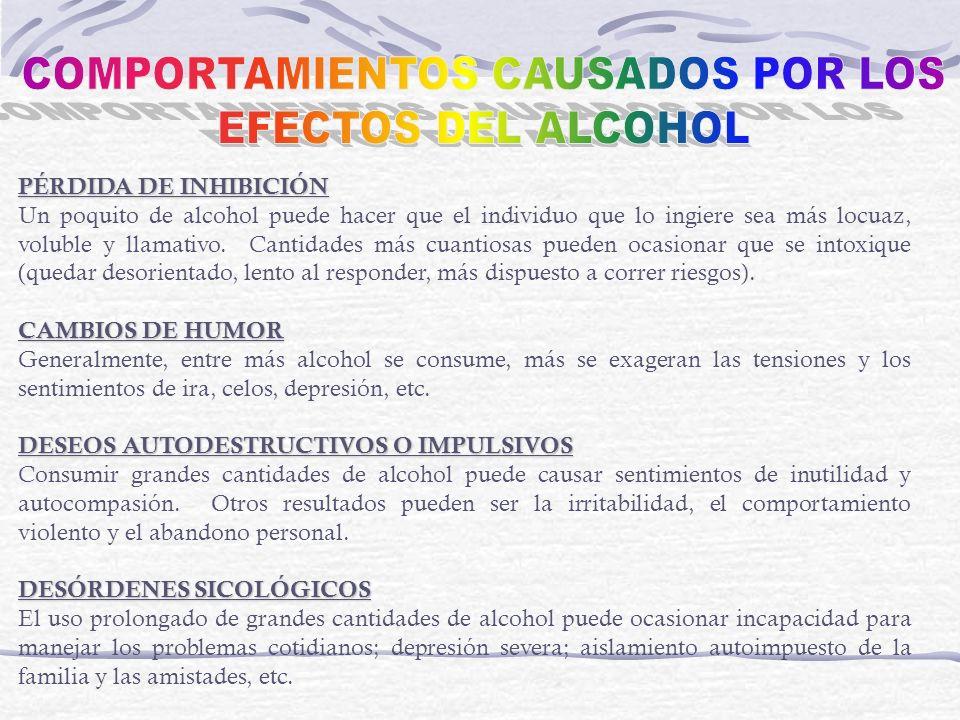 PÉRDIDA DE INHIBICIÓN Un poquito de alcohol puede hacer que el individuo que lo ingiere sea más locuaz, voluble y llamativo. Cantidades más cuantiosas