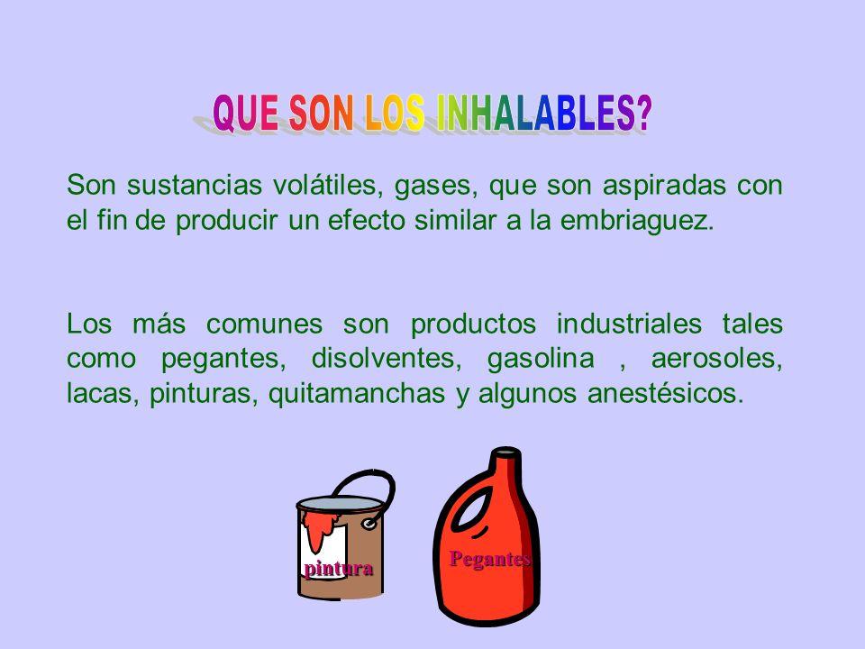 Son sustancias volátiles, gases, que son aspiradas con el fin de producir un efecto similar a la embriaguez. Los más comunes son productos industriale