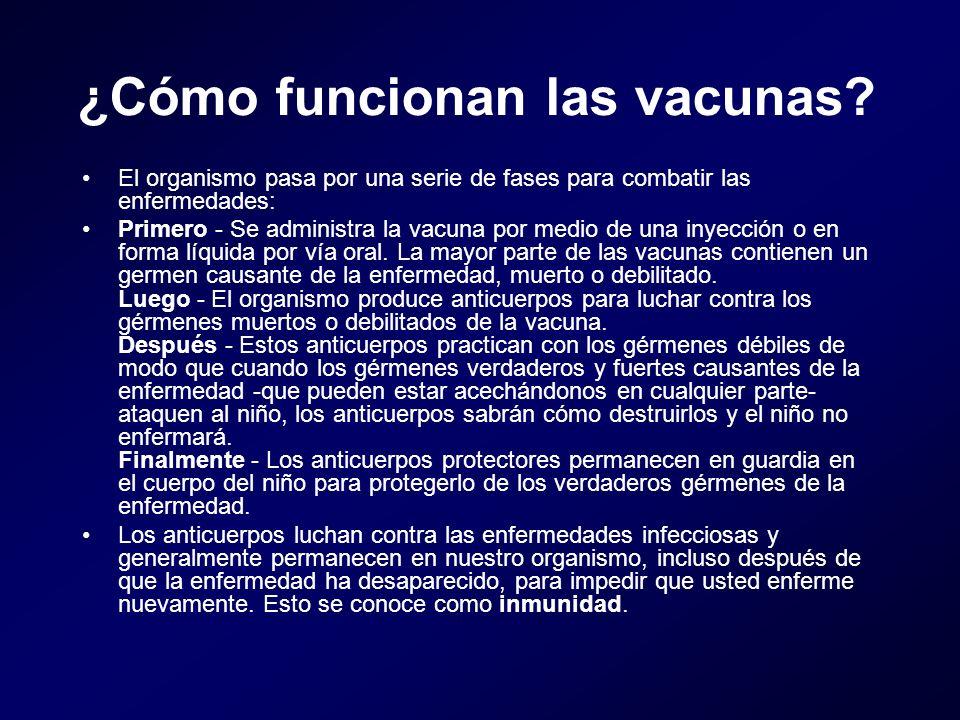 ¿Cómo funcionan las vacunas? El organismo pasa por una serie de fases para combatir las enfermedades: Primero - Se administra la vacuna por medio de u