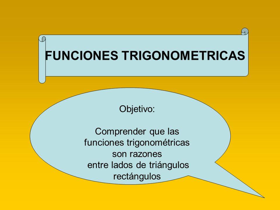 Funciones Trigonométricas ____________________________________________________________________ Para resolver cualquier problema trigonométrico es fundamentan poder identificar el ángulo recto, así como los lados de un ángulo determinado, como los siguientes: Adyacente, Opuesto, Hipotenusa