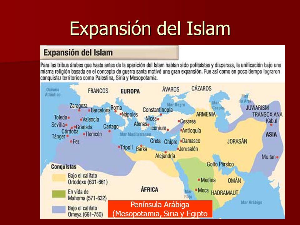 Expansión del Islam Península Arábiga (Mesopotamia, Siria y Egipto